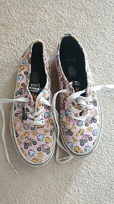 VANS Trainers Size UK 2 Pink | Girls Mario Kart Nintendo Princess Peach
