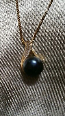 12 mm AAA Black South Sea Salt Water Pearl Necklace Pendant w/Zirconias & Chain  Aaa Black Pearl Pendant