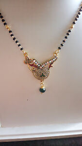 Mangalsutra Set With Enamel Work Pearl Featuring singal Chain available at Ebay for Rs.99