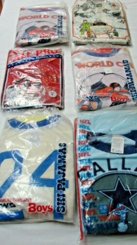 ALL FOR ONE $ ~ LOT 6 VINTAGE NEW OLD STOCK BOYS SPORT PAJAMAS