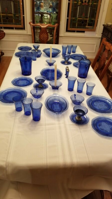 Blue Royal Lace Depression Glass 65 Piece Service for 4