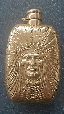 Unger Brothers Indian Chief Sterling Silver Liquor Flask, c1905