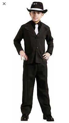 Boys Gangster Suit Costume Pinstripe size M 8-10