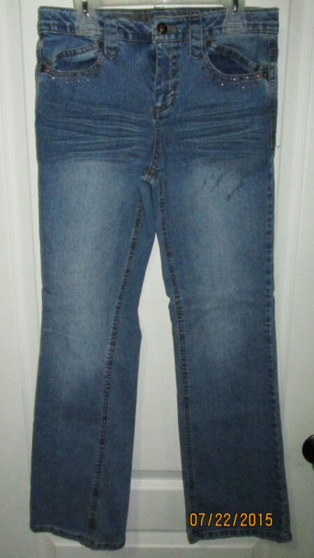 Youth Girls Size 14 Squeeze Jeans Pink Butterfly Pockets Blue Denim Pants