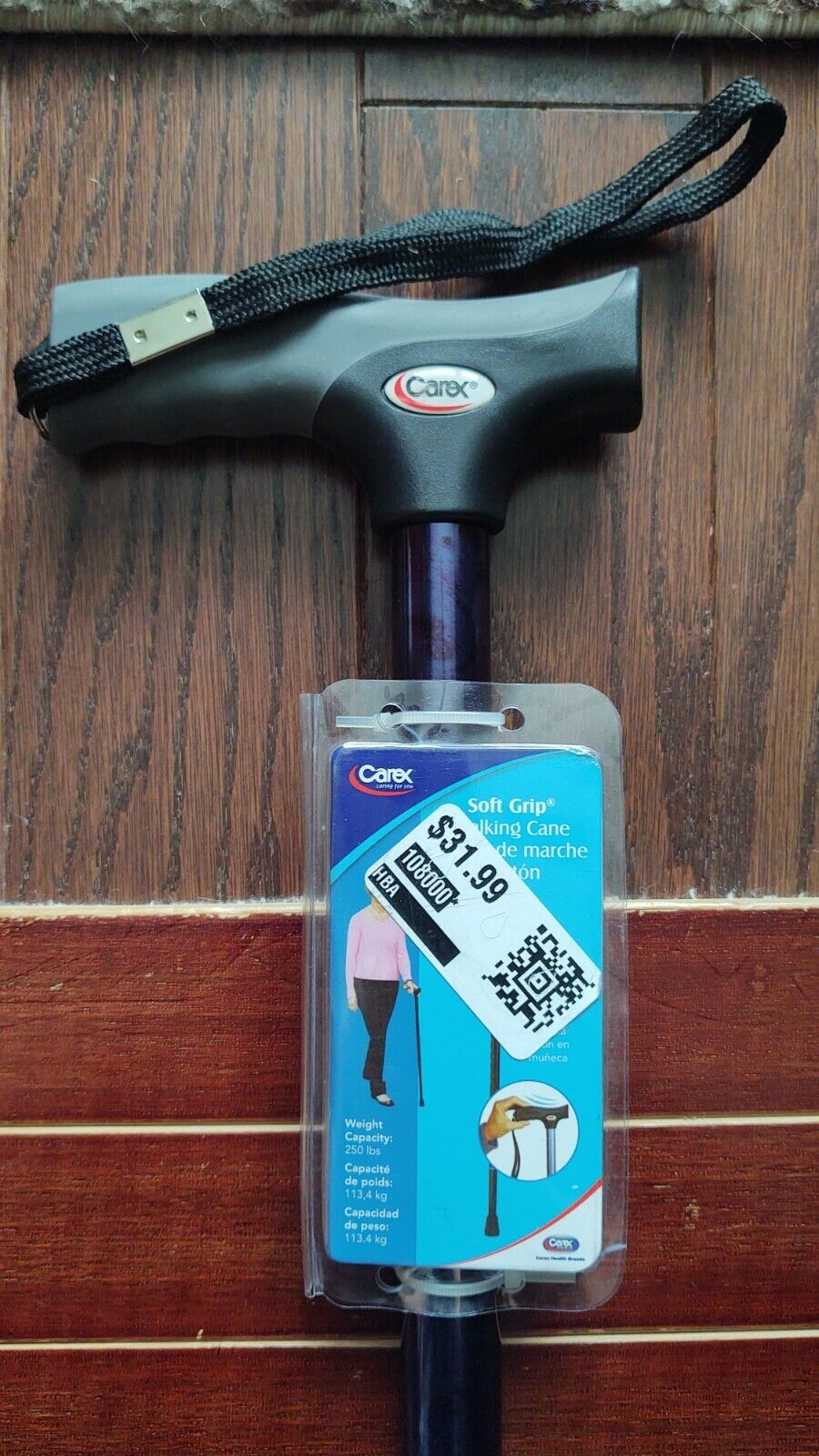 Carex Health Brands Soft Grip Derby Cane, Designer Blue
