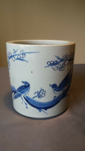 Chinese Blue & White Bird and Floral Porcelain Brush Pot