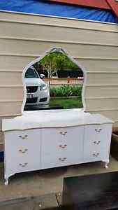 Queen Ann bedroom set white with gold trims Zillmere Brisbane North East Preview