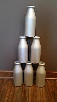 6 Metal Milk Bottle Ball Toss Carnival Birthday Party Game - Ring Throw Bowling