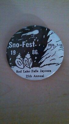 Vintage Collectible ButtonPinBack Jaycees SnoFest RedLakeFalls MN 1986