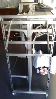 H Frame - Commercial Clothes Rack on Wheels $100