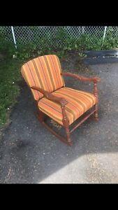 Orange retro rocking chair