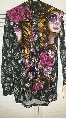 NWT 2019 OS OUTFIT LULAROE HALLOWEEN DAY OF THE DEAD SUGAR SKULLS W/SMALL AMBER