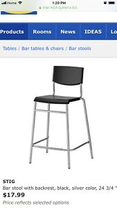 Bar stool with backrest, from IKEA