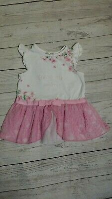 Maggie & Zoe 9-12 Month Girl Tunic Dress Spring Summer Tutu Tulle Pink White