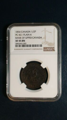 1854 Canada HALF PENNY BANK TOKEN NGC XF45 BN 1/2P Coin PRICED TO SELL NOW!