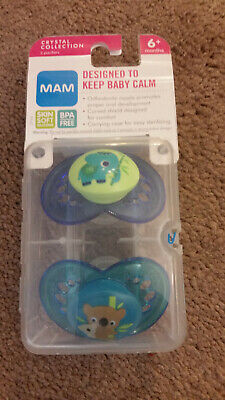 2 MAM Crystal Collection Orthodontic Pacifiers Blue Elephant Koala Bear 6m+ Crystal Blue Pacifier