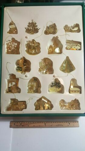 SOLID BRASS VINTAGE CHRISTMAS ORNAMENT SET-18 PIECES-BY TRIM-A-HOME