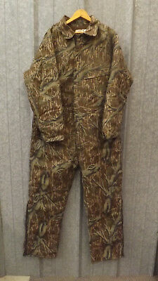 a30dbf77efed0 Vtg NEW Mossy Oak Tree Stand Camo DUCK COTTON Canvas Insulated Coveralls sz  XL