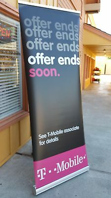 Retractable Popup Banner W Stand Up Metal Frame 30 X 80 Aluminium Frame