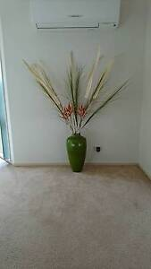 Tall Green Vase and Artificial Plants Lisarow Gosford Area Preview