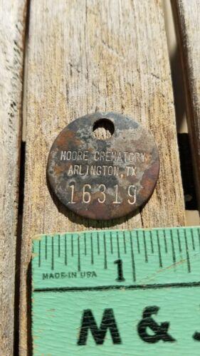 Vintage Moore Crematory Arlington Texas ID Tag Token Funeral Home Coin