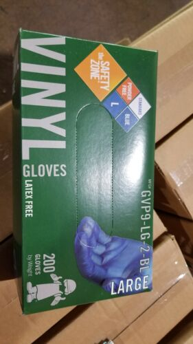 Vinyl Blue Gloves 200 count (Powder and Latex Free) Large Size Only
