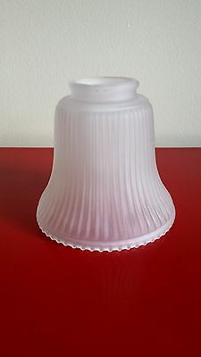 Collector BELL SHAPED TULIP LAMP SHADE FROSTED RIBBED BEADS FOR CHANDELIER SCONCE