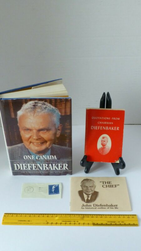 Selection of John G. Diefenbaker Memorabilia, Stamp, Quotations and Signed Book