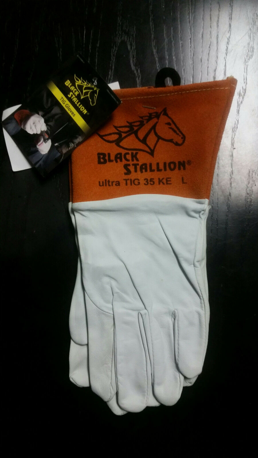 Black Stallion 35KE Long Cuff Grain Kidskin TIG Welding Gloves Large