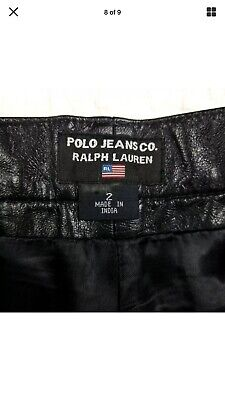 Black Leather Motorcycle Pants - Polo Ralph Lauren Black Leather Motorcycle Pants Size 2