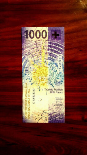 SWITZERLAND SWISS 1000 francs  gem UNC first prefix A.
