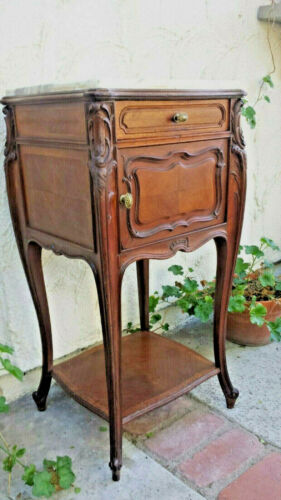 FRENCH NIGHTSTAND ROCOCO MARBLE TOP HAND CARVED SOLID WALNUT FROM PARIS FRANCE