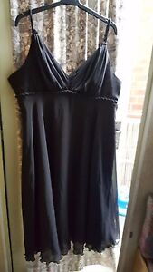 VINTAGE RETRO ? LADIES DRESS WALLIS BLACK SLEEVELESS SILKY LINED ROPE TRIM SZ18