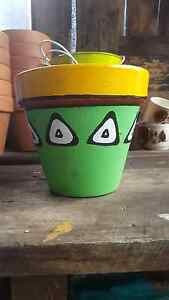 Hand painted flower pots Invermay Launceston Area Preview