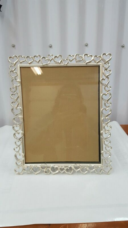 "Fetco Home Decor Wedding 11"" × 8 "" Silver/tone metal with Crystals Frame"