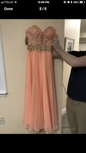 Long formal coral prom dress, came from Las Vegas