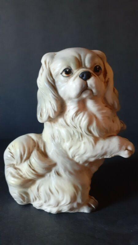 VINTAGE Ucagco Hand Painted Pekingese Dog Figurine Ucagco Japan Original Sticker