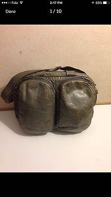 M0851 Gray leather vintage five pocket Laptop bag/Computer bag