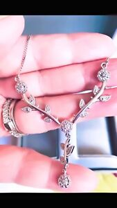 Sterling Silver with Genuine Diamonds necklace and earrings Set