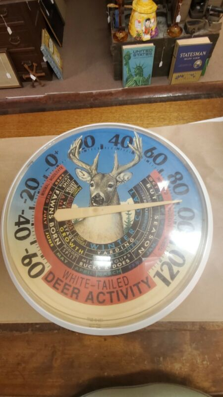 VINTAGE WHITED TAILED DEER ACTIVITY LARGE ROUND JUMBO DIAL THERMOMETER