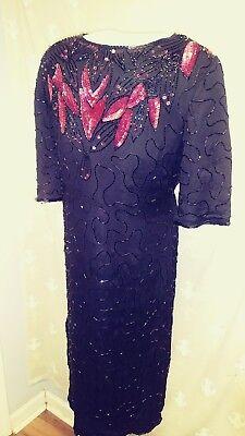 Black Silk Dress red floral sequins S/S FMardi Gras!  Harlem Nite  VTG sz L EUC