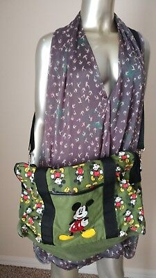 Rare Vintage Mickey Mouse Bag Purse Backpack Messenger bag handbag green