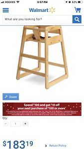 High Chair baby wooden restaurant style New in Box