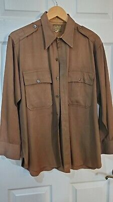 1940s Men's Shirts, Sweaters, Vests WW 2 Vintage Mens Regulation Military Shirt Brown Form Fit Styled By Yale 1940's $67.00 AT vintagedancer.com