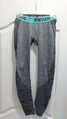 Gymshark Flex Leggings Charcoal Marl/Pastel Turquoise Small