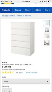 Looking for IKEA Malm dressers in White
