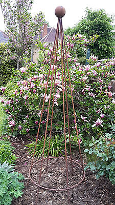 rusted steel metal 2m sweet pea runner bean conical pyramid garden plant support