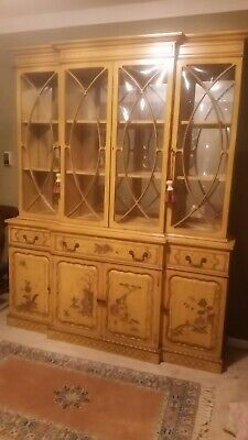 - Asian Chinoiserie  Lacquered yellow  & Gold Painted China Cabinet CHINOISERIE