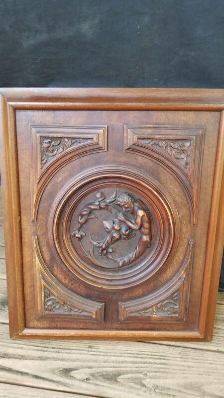 Antique Wooden Bacchus Door/wall Art