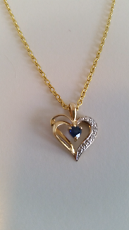 9ct Sapphire and Diamond Heart Necklace